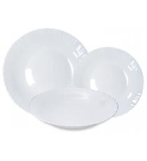 Komplet obiadowy 18el serwis okrągły talerz biały