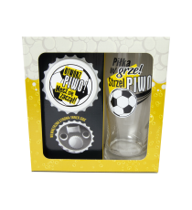 Zestaw szklanka kufel z otwieraczem do piwa Strzel