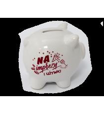 Skarbonka ŚWINKA ceramiczna napis NA IMPREZY