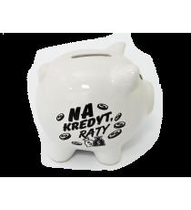 Skarbonka ŚWINKA ceramiczna napis NA KREDYT