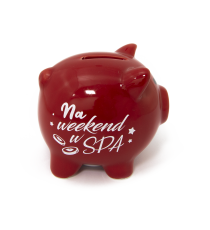Skarbonka ŚWINKA ceramiczna napis NA SPA