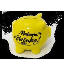 Skarbonka ŚWINKA ceramiczna napis NAKARM ŚWINKĘ
