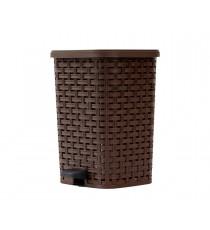 Kosz na śmieci odpady z pedałem Rattan 12L Brązowy