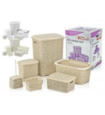 Zestaw pojemników łazienkowych komplet Lacy Ivory