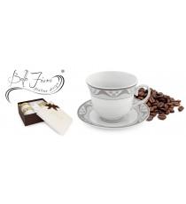 Zestaw kawowy 2+2 serwis filiżanek PORCELANA 1833S